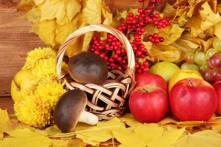 Autumnal composition with yellow leaves, apples and mushrooms on wooden background Stock Photo - 16472921