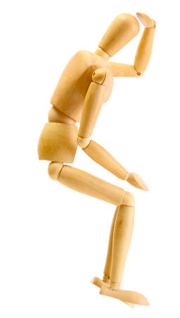 wooden mannequin isolated on white photo