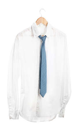 shirt with tie on wooden hanger isolated on white Stock Photo - 16498221