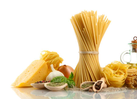 Pasta spaghetti, vegetables, spices and oil, isolated on white Stock Photo - 16499719