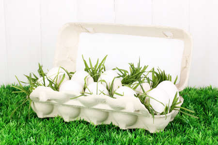 eco-friendly eggs in box on green grass on wooden background Stock Photo - 16501087