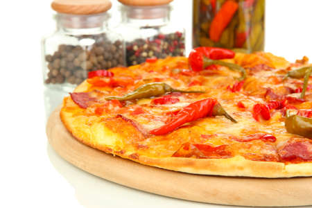 Tasty pepperoni pizza with vegetables on wooden board close-up Stock Photo - 16500636