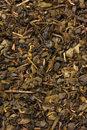 aromatic green dry tea, close up photo