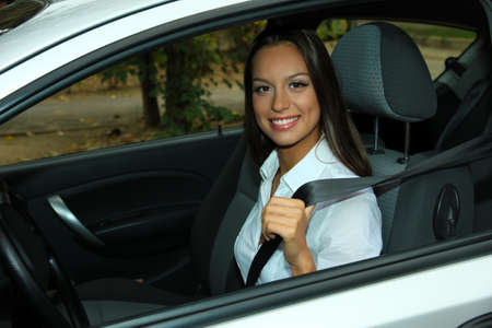 beautiful young woman in car Stock Photo - 16546353