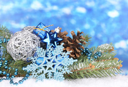 Christmas decoration on blue background Stock Photo - 16501810