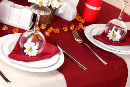 Elegant table setting in restaurant Stock Photo - 16501795