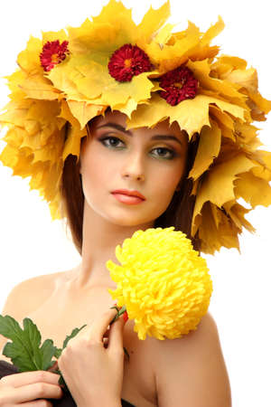 beautiful young woman with autumn wreath and chrysanthemum, isolated on white Stock Photo - 16547159