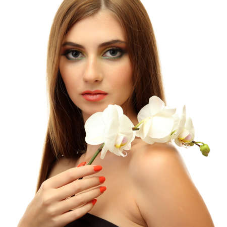 portrait of sexy young woman with white orchid flower, isolated on white Stock Photo - 16547161
