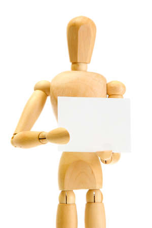 wooden mannequin with empty paper isolated on white photo
