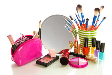 cosmetic products: cosmetics near mirror isolated on white