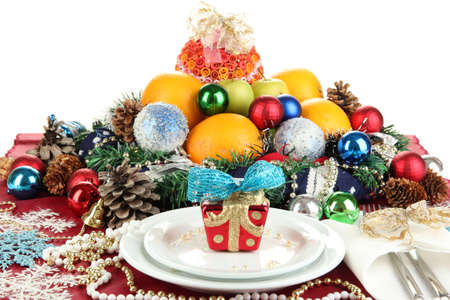Serving Christmas table on white background Stock Photo - 16547447
