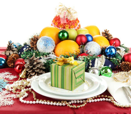 Serving Christmas table on white background Stock Photo - 16546300