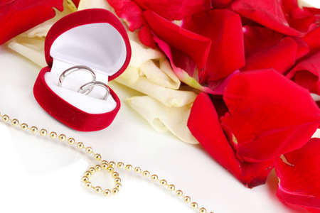 single rose: Beautiful box with wedding rings on red, white and pink rose petals background isolated on white