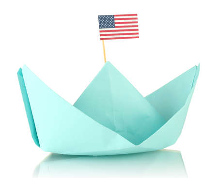 Ship with the American flag, isolated on white. Columbus Day.