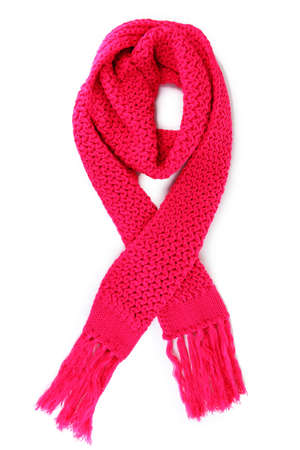 Warm knitted scarf pink isolated on white Stock Photo - 16545895