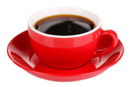 red taste: A red cup of strong coffee isolated on white Stock Photo