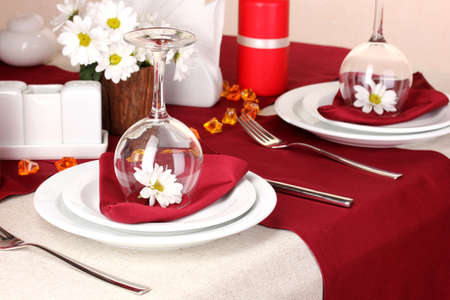 Elegant table setting in restaurant Stock Photo - 16547372