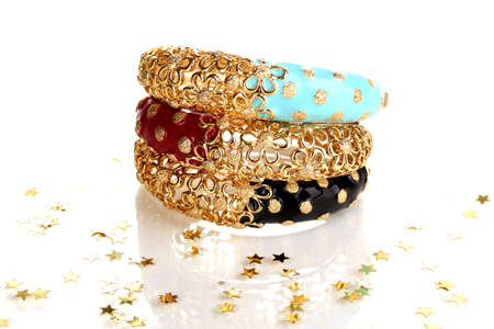 jewelery: Elegant and fashion golden bracelets isolated on white background Stock Photo