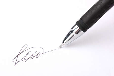subscribing: Closeup of signature (fake, not real) and pen, isolated on white Stock Photo