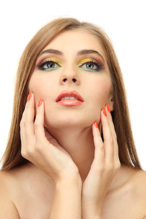 portrait of sexy young woman with glamour make up and orange manicure Stock Photo - 17051698