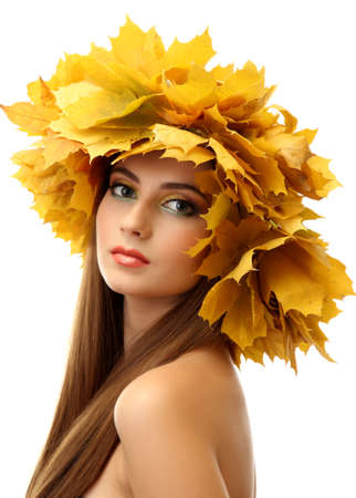 beautiful young woman with yellow autumn wreath, isolated on white Stock Photo - 17051651