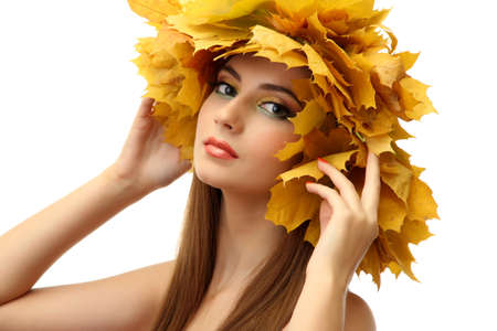 beautiful young woman with yellow autumn wreath, isolated on white Stock Photo - 17051637