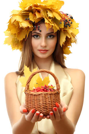 beautiful woman with wreath and basket with barberry, isolated on white Stock Photo - 17051682