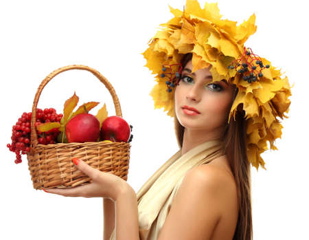 beautiful woman with wreath and basket with apples and berries, isolated on white Stock Photo - 17051643