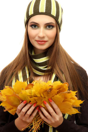 portrait of young woman with autumn maple leaves, isolated on white Stock Photo - 17051684