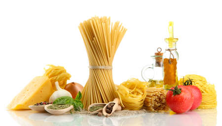 Pasta spaghetti, vegetables, spices and oil, isolated on white Stock Photo - 16569761