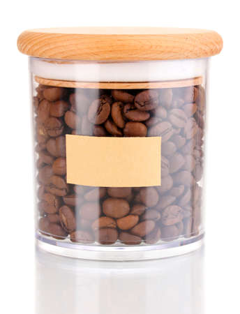 Coffee beans in jar isolated on white photo