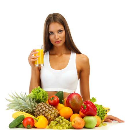 beautiful young woman with fruits and vegetables and glass of juice, isolated on white Stock Photo - 17051696
