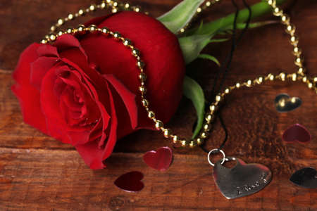 Heart pendant with red rose photo