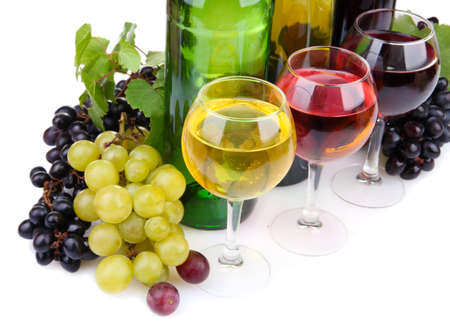 green bottle: bottles and glasses of wine and assortment of grapes, isolated on white