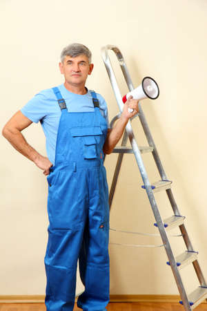 superintendent: Construction superintendent directs repair Stock Photo