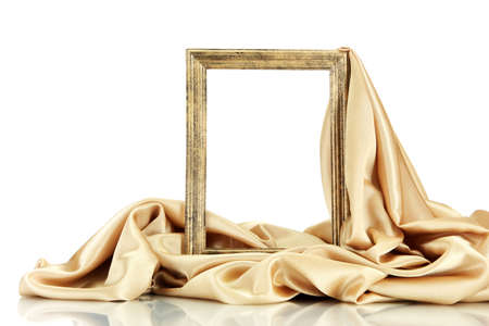 tissu or: cadre vide avec de la soie, isol� sur blanc