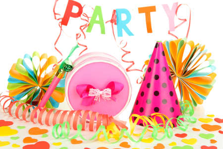 Party decorations isolated on white photo