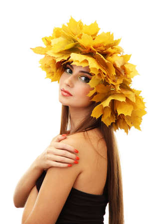 beautiful young woman with yellow autumn wreath, isolated on white Stock Photo - 17051737