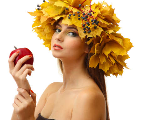beautiful young woman with yellow autumn wreath and apple, isolated on white Stock Photo - 17051783