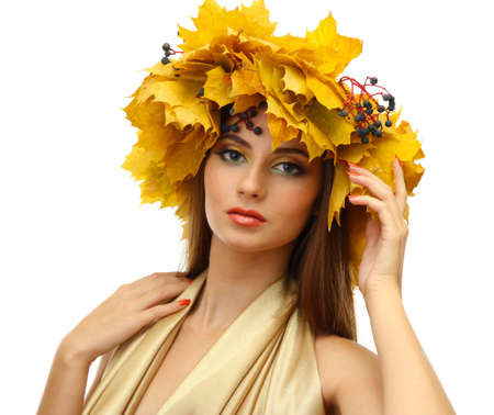 beautiful young woman with yellow autumn wreath, isolated on white Stock Photo - 17051724