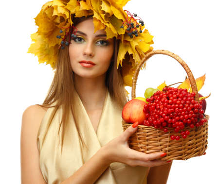 beautiful woman with wreath and basket with apples and berries, isolated on white Stock Photo - 17051738