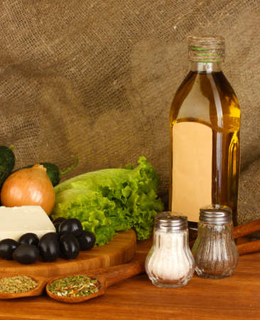 Ingredients for a Greek salad on canvas background close-up Stock Photo - 16647246