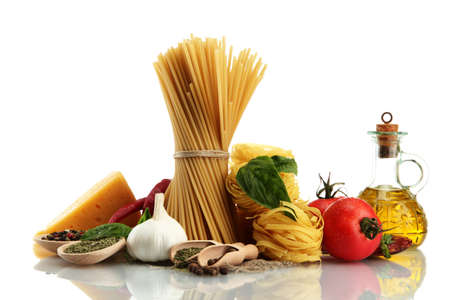 Pasta spaghetti, vegetables, spices and oil, isolated on white Stock Photo - 16645406
