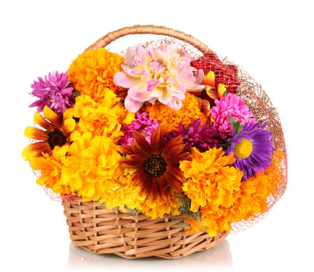 ronantic: Beautiful bouquet of bright flowers in basket isolated on white