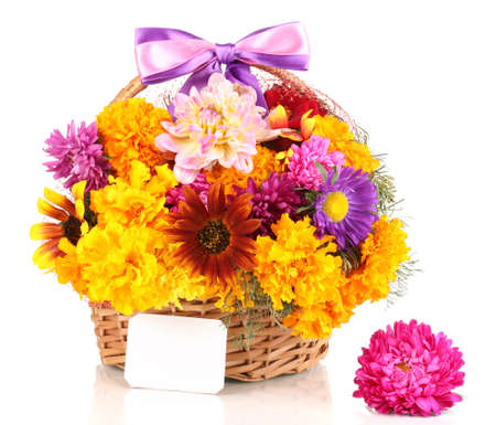 ronantic: Beautiful bouquet of bright flowers in basket with paper note isolated on white