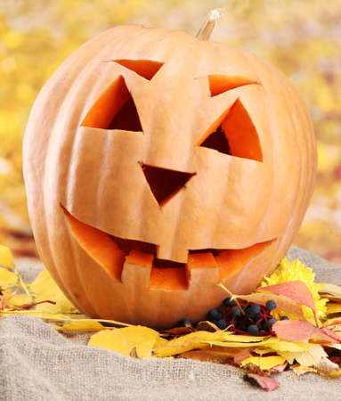 halloween pumpkin and autumn leaves, on yellow background Stock Photo - 16646875