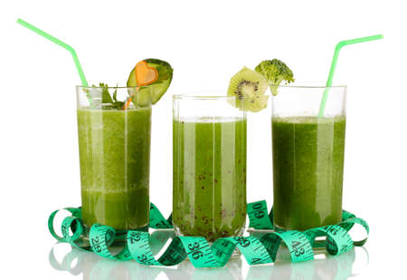 Three kinds of green juice isolated on white photo