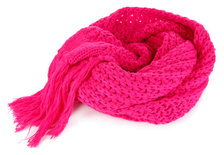 Warm knitted scarf pink isolated on white Stock Photo - 16646582