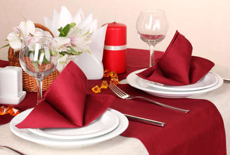 Elegant table setting in restaurant Stock Photo - 16647137