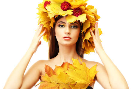 beautiful young woman with yellow autumn wreath, isolated on white Stock Photo - 17051857